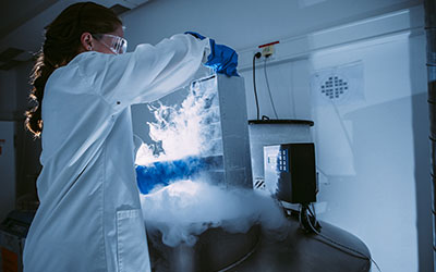 Lab tech working with cryopreservation materials