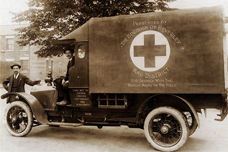 This ambulance was presented to the British Army during the First World War by the Borough of Beverley